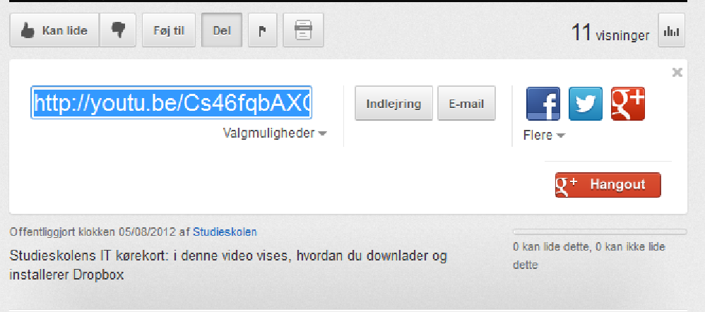 Upload videoer fra YouTube på en blog/en hjemmeside eller send en video: 7.