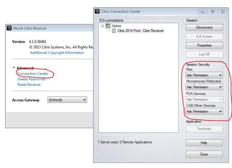 I Connnection Center kan der ses de lokale ressourcer som Citrix