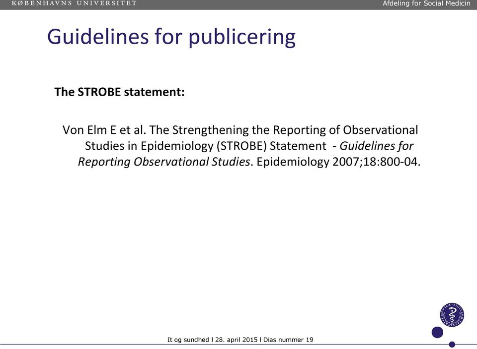 strobe guidelines for observational studies