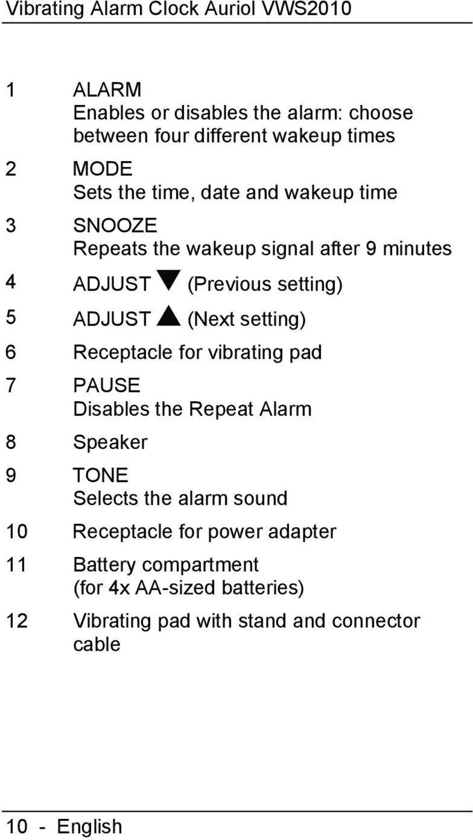 (Next setting) 6 Receptacle for vibrating pad 7 PAUSE Disables the Repeat Alarm 8 Speaker 9 TONE Selects the alarm sound 10
