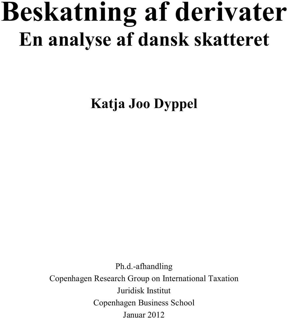 -afhandling Copenhagen Research Group on