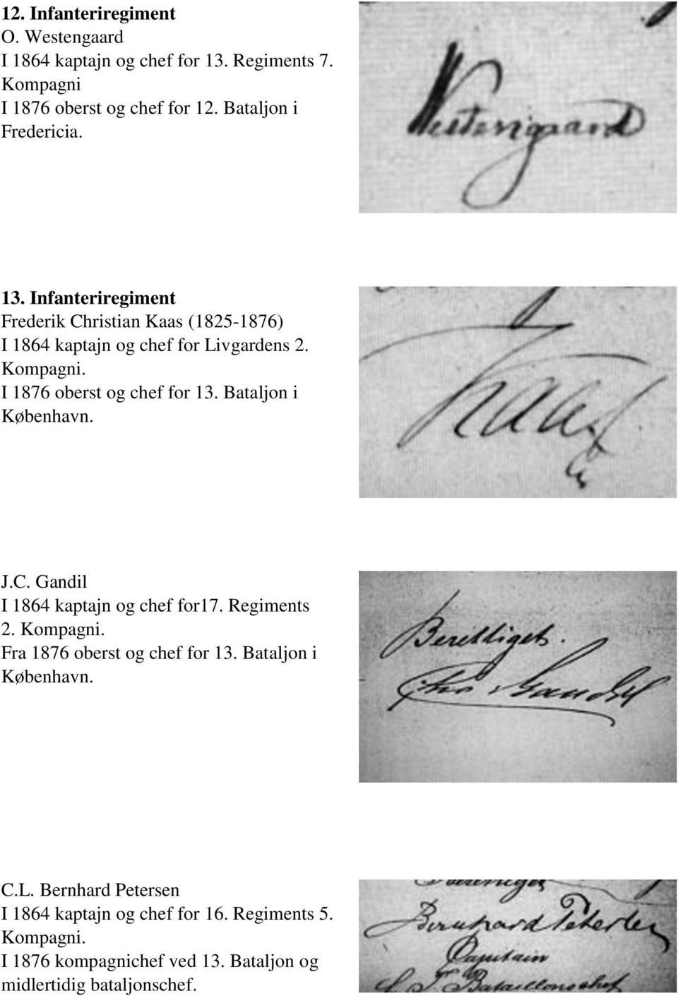I 1876 oberst og chef for 13. Bataljon i J.C. Gandil I 1864 kaptajn og chef for17. Regiments 2. Fra 1876 oberst og chef for 13.