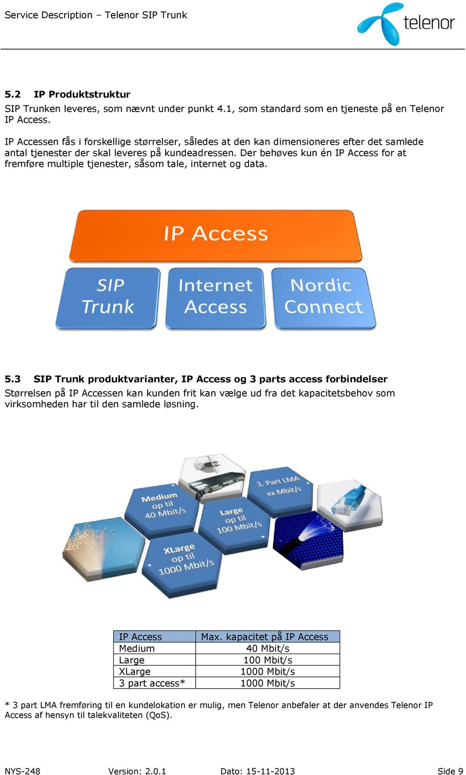 Der behøves kun én IP Access for at fremføre multiple tjenester, såsom tale, internet og data. 5.