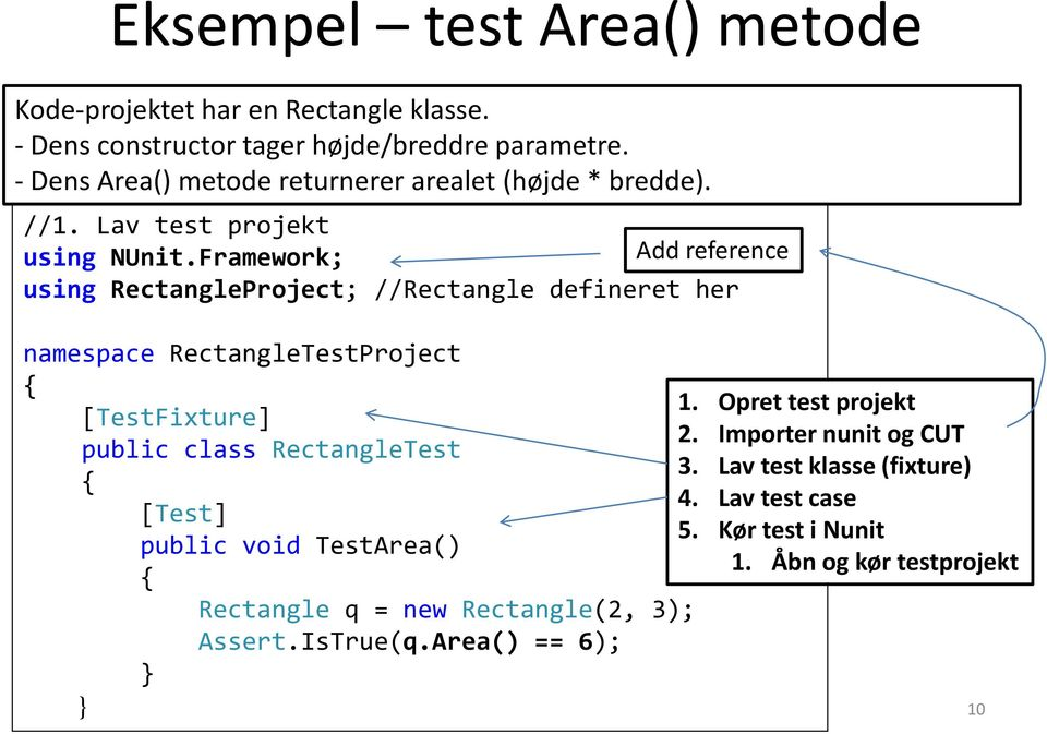 Framework; Add reference using RectangleProject; //Rectangle defineret her namespace RectangleTestProject { 1. Opret test projekt [TestFixture] 2.