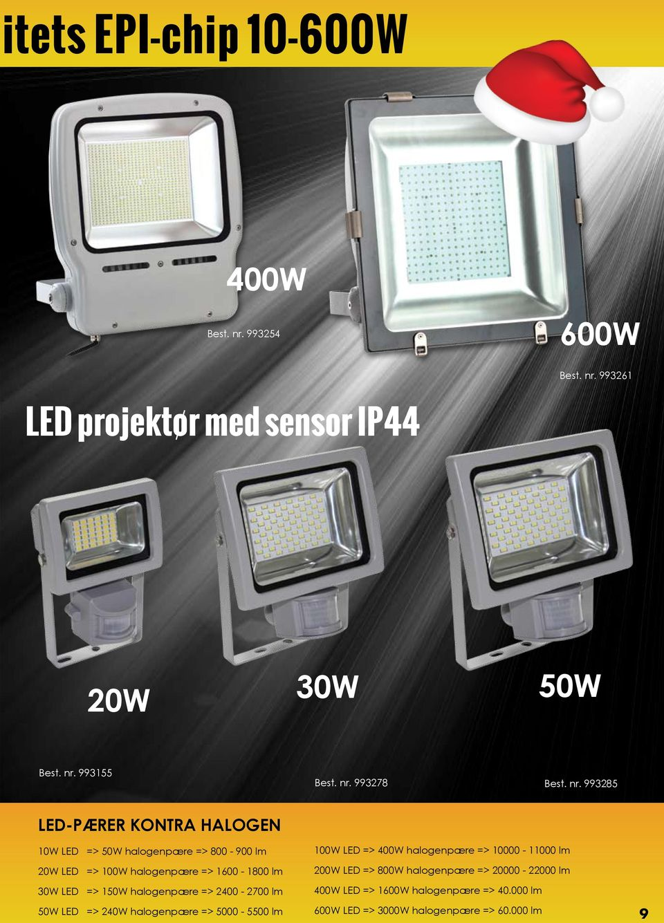 halogenpære => 2400-2700 lm 50W LED => 240W halogenpære => 5000-5500 lm 100W LED => 400W halogenpære => 10000-11000 lm 200W LED => 800W