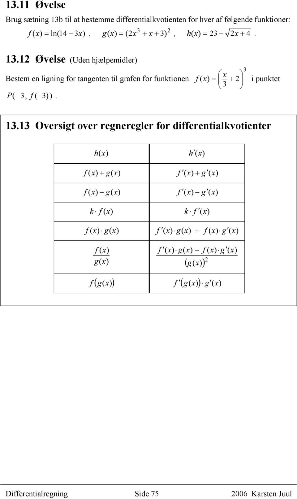 Oversigt over regneregler for differentialkvotienter h () h () + g( ) f ( ) + g ( ) g( ) f ( ) g ( ) k f () k f () g(