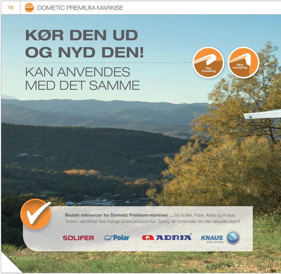 referencer for Dometic Premium-markiser fra Solifer, Polar, Adria og