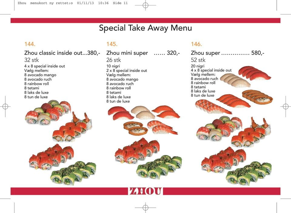 Special Take Away Menu 144. 145. 146.