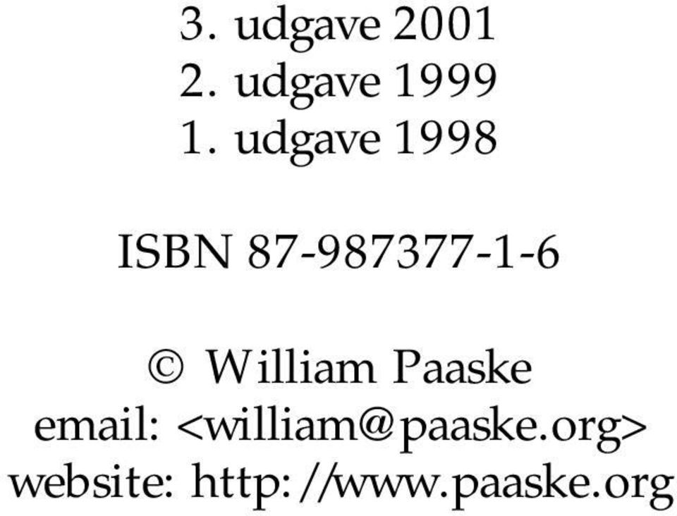 William Paaske email: