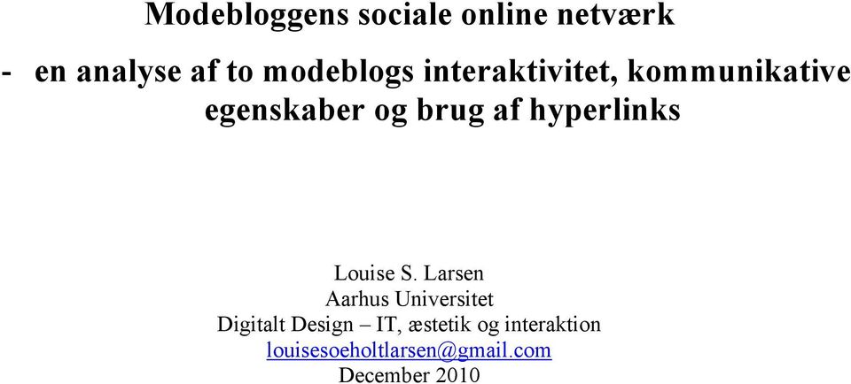 hyperlinks Louise S.