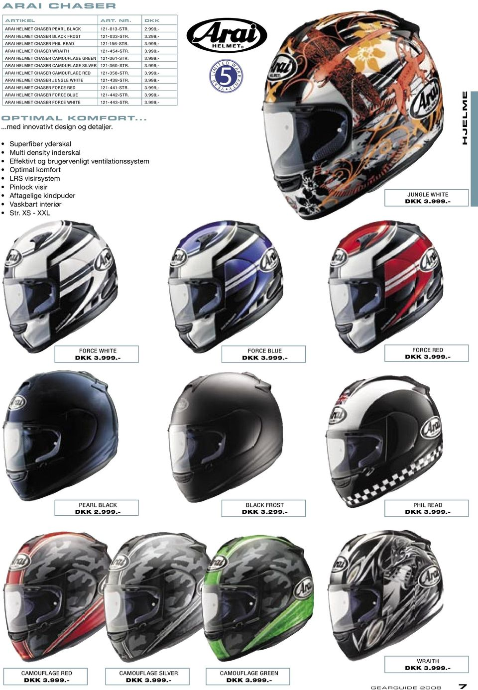 3.999,- ARAI HELMET CHASER FORCE BLUE 121-442-STR. 3.999,- ARAI HELMET CHASER FORCE WHITE 121-443-STR. 3.999,- OPTIMAL KOMFORT......med innovativt design og detaljer.
