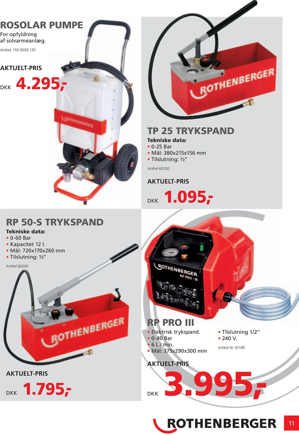 095,- RP 50-S TRYKSPAND Tekniske data: 0-60 Bar Kapacitet 12 l.