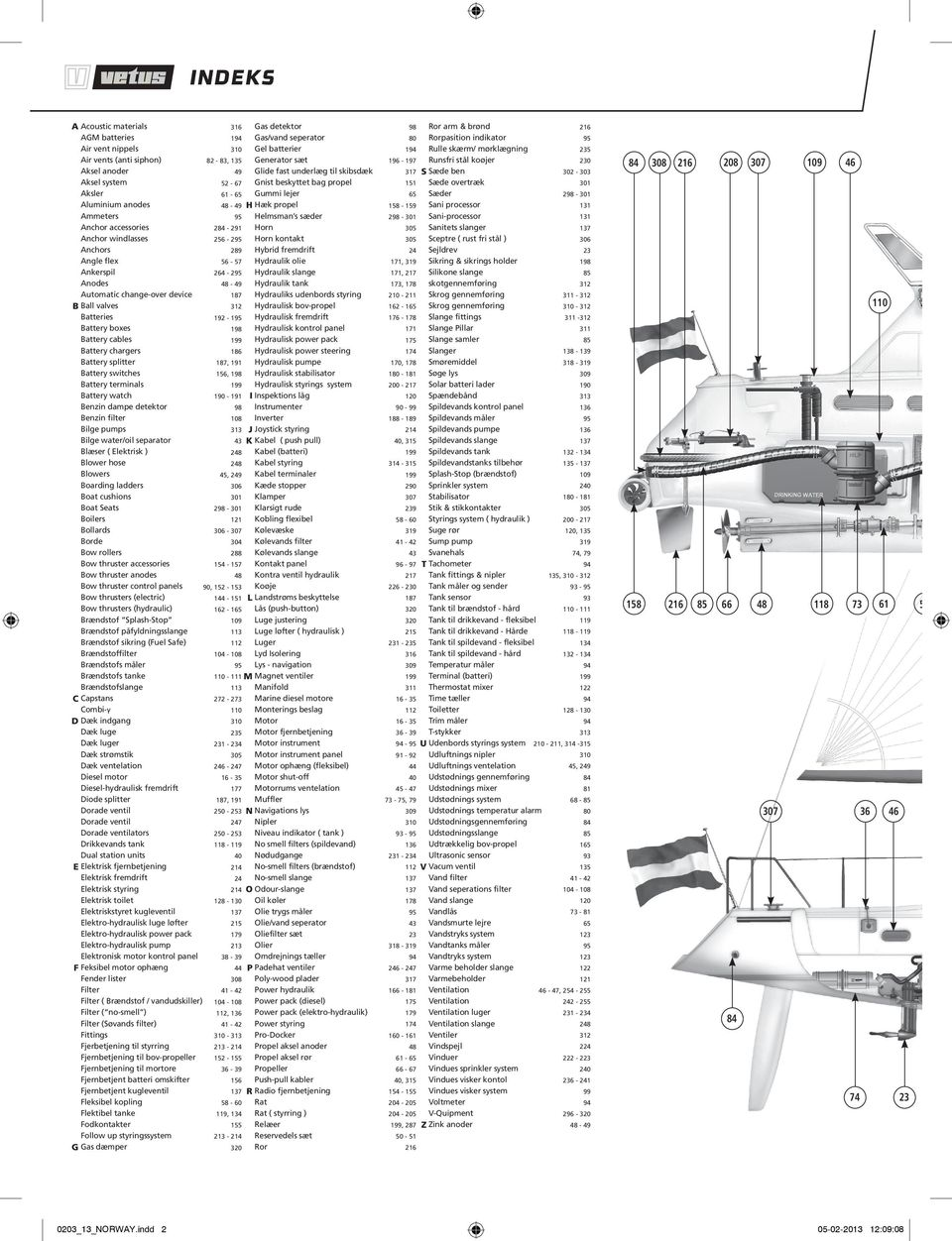 detektor Benzin filter Bilge pumps Bilge water/oil separator Blæser ( Elektrisk ) Blower hose Blowers Boarding ladders Boat cushions Boat Seats Boilers Bollards Borde Bow rollers Bow thruster