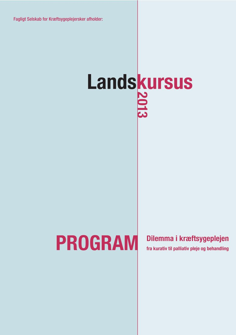 Landskursus 2013 PROGRAM Dilemma i