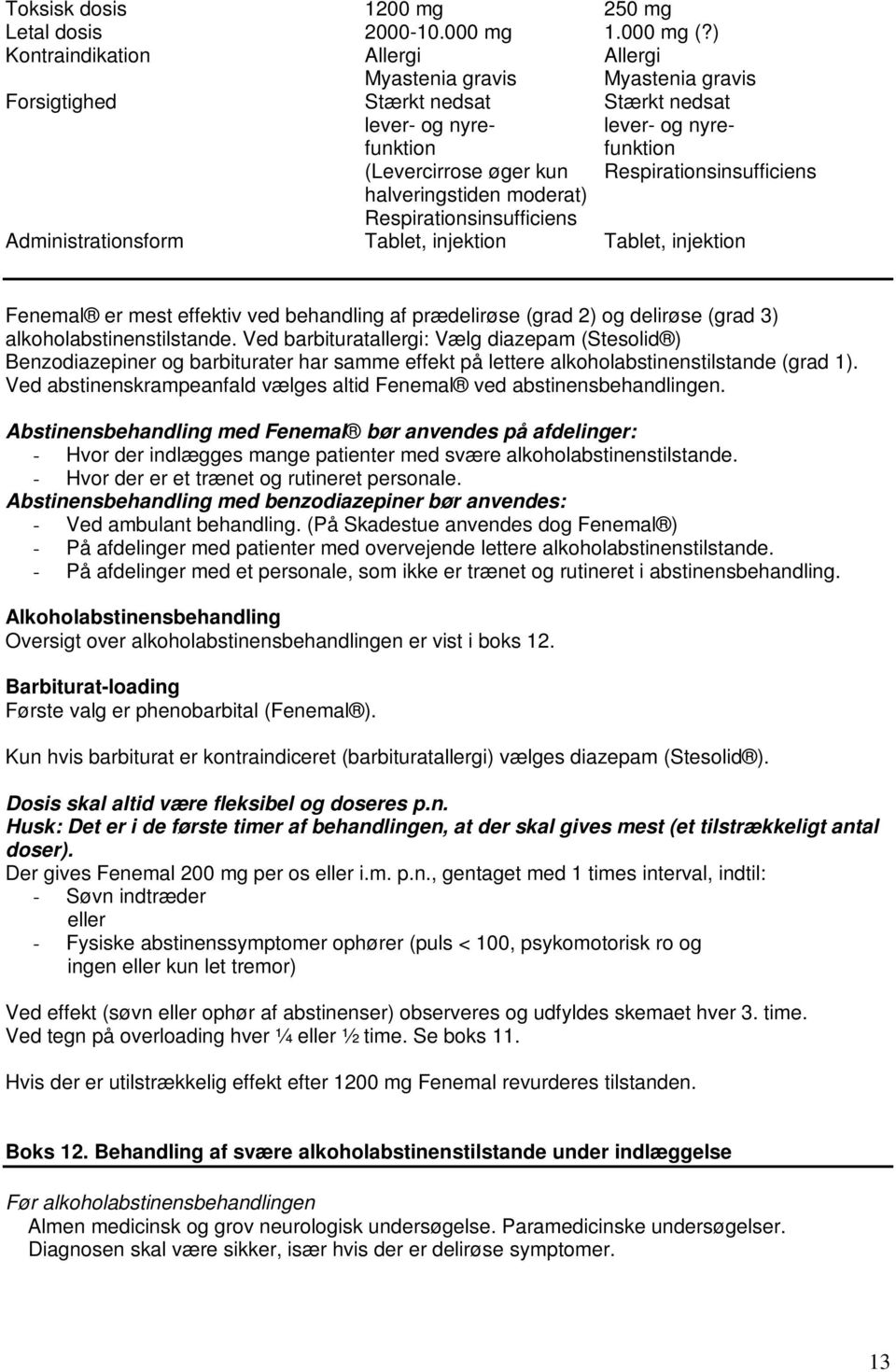 Respirationsinsufficiens halveringstiden moderat) Respirationsinsufficiens Administrationsform Tablet, injektion Tablet, injektion Fenemal er mest effektiv ved behandling af prædelirøse (grad 2) og