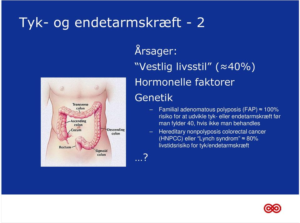 Familial adenomatous polyposis (FAP) 100% risiko for at udvikle tyk- eller