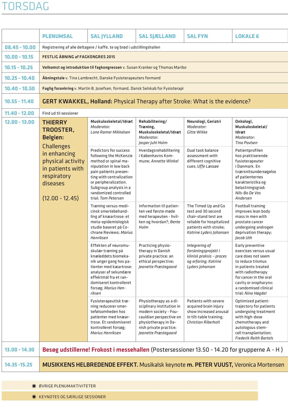 Josefsen, formand, Dansk Selskab for Fysioterapi 10.55-11.40 GERT KWAKKEL, Holland: Physical Therapy after Stroke: What is the evidence? 11.40-12.00 Find ud til sessioner 12.00-13.