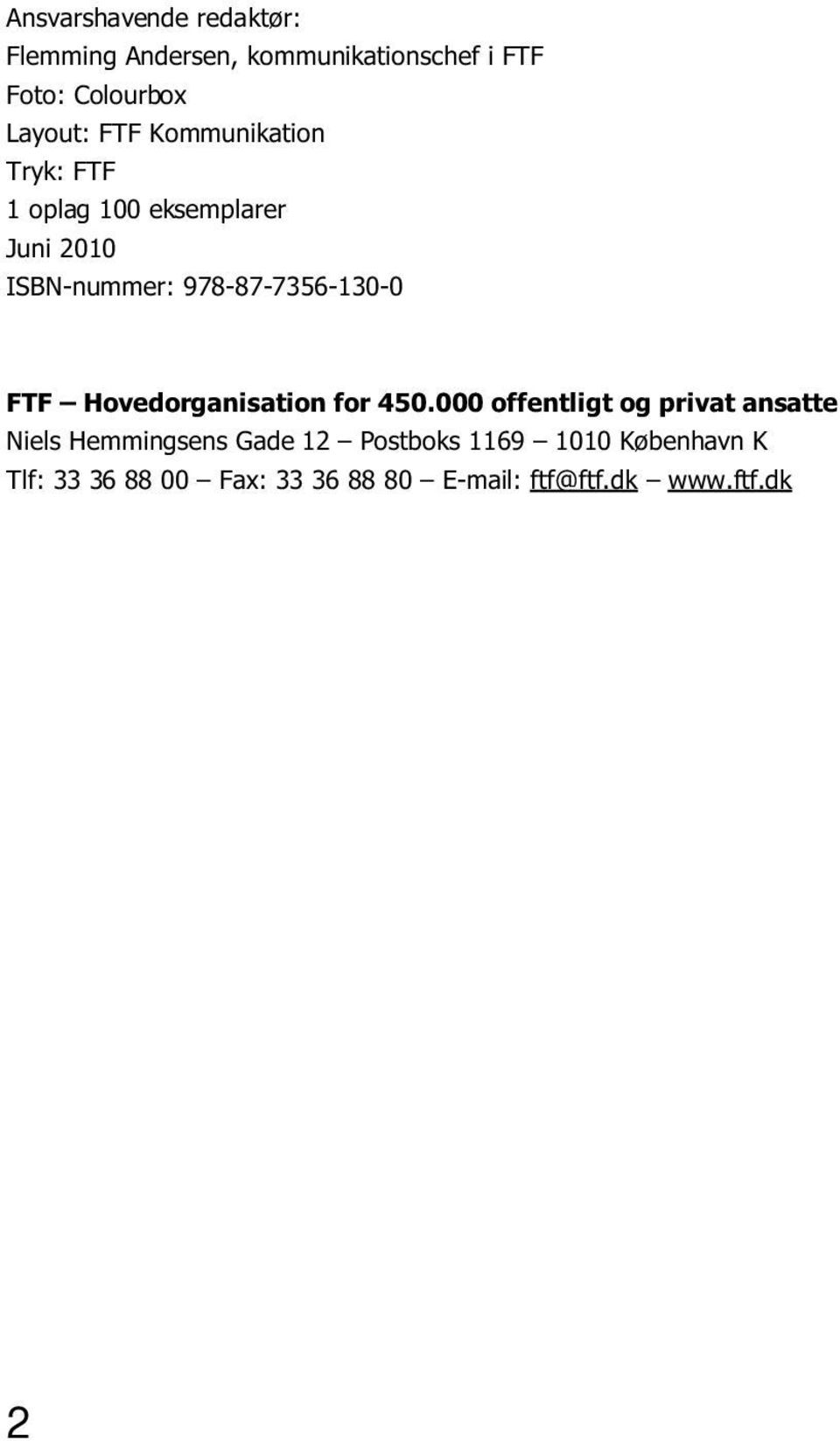 FTF Hovedorganisation for 450.