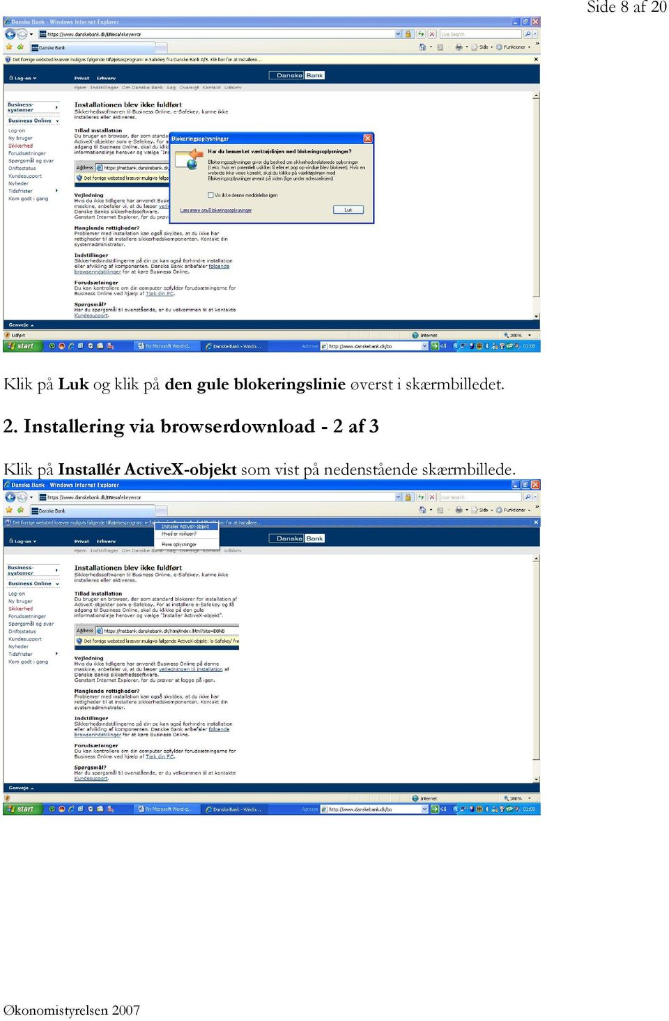 Installering via browserdownload - 2 af 3 Klik på