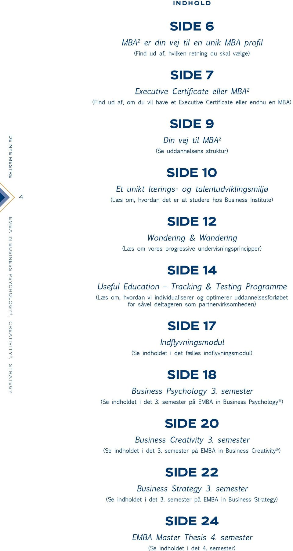 det er at studere hos Business Institute) SIDE 12 Wondering & Wandering (Læs om vores progressive undervisningsprincipper) SIDE 14 Useful Education Tracking & Testing Programme (Læs om, hvordan vi