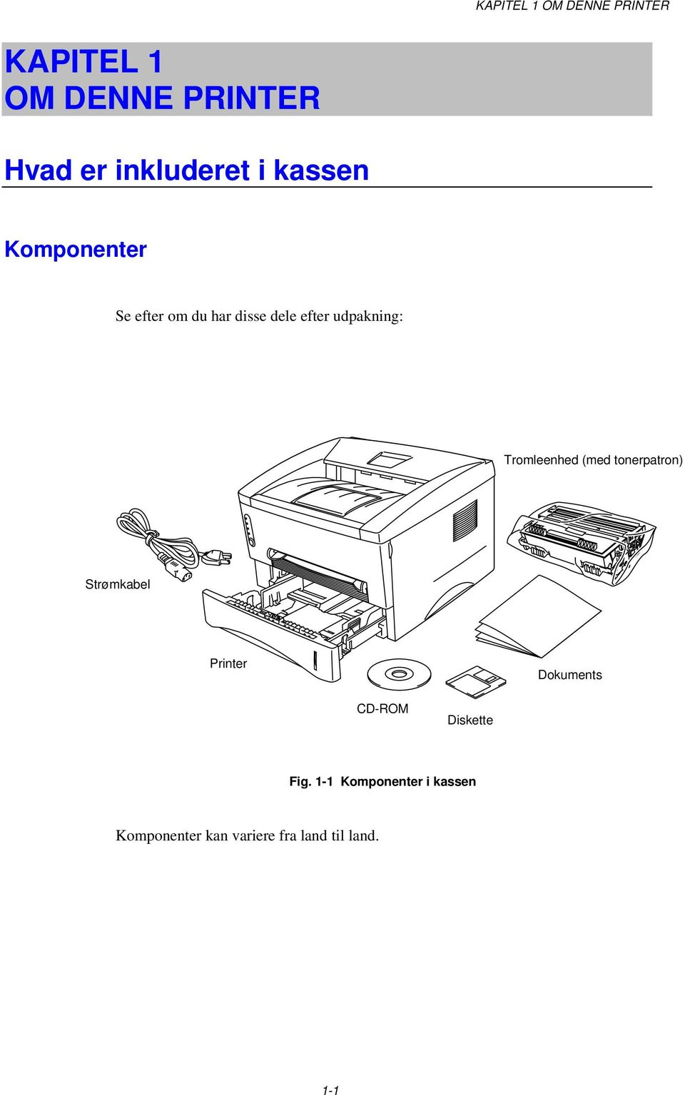 Tromleenhed (med tonerpatron) Strømkabel Printer Dokuments CD-ROM