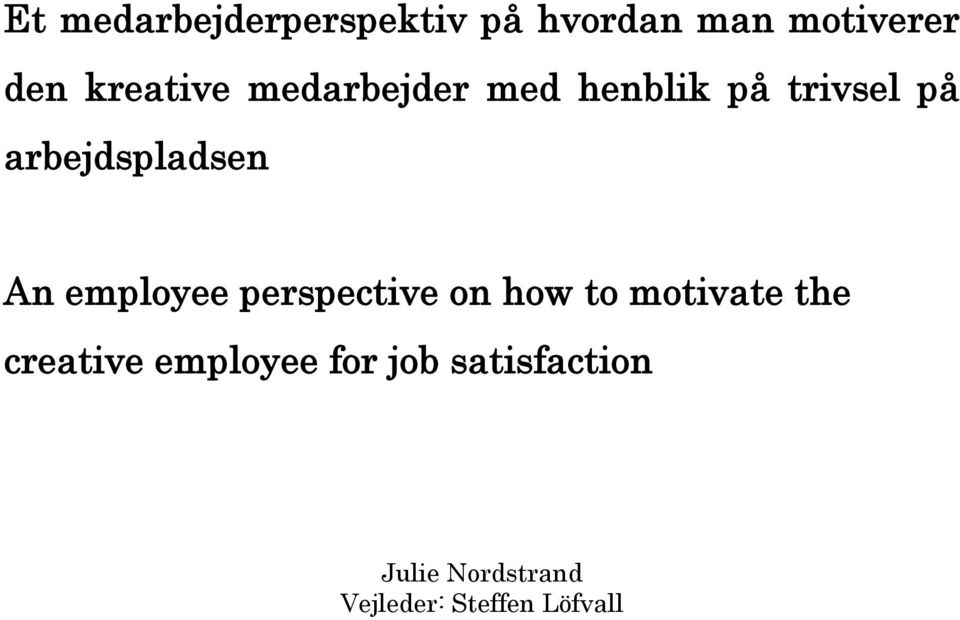 arbejdspladsen An employee perspective on how to motivate