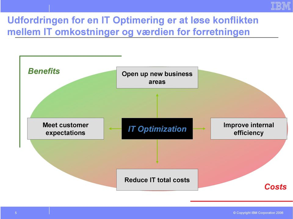 business areas Meet customer expectations IT Optimization Improve
