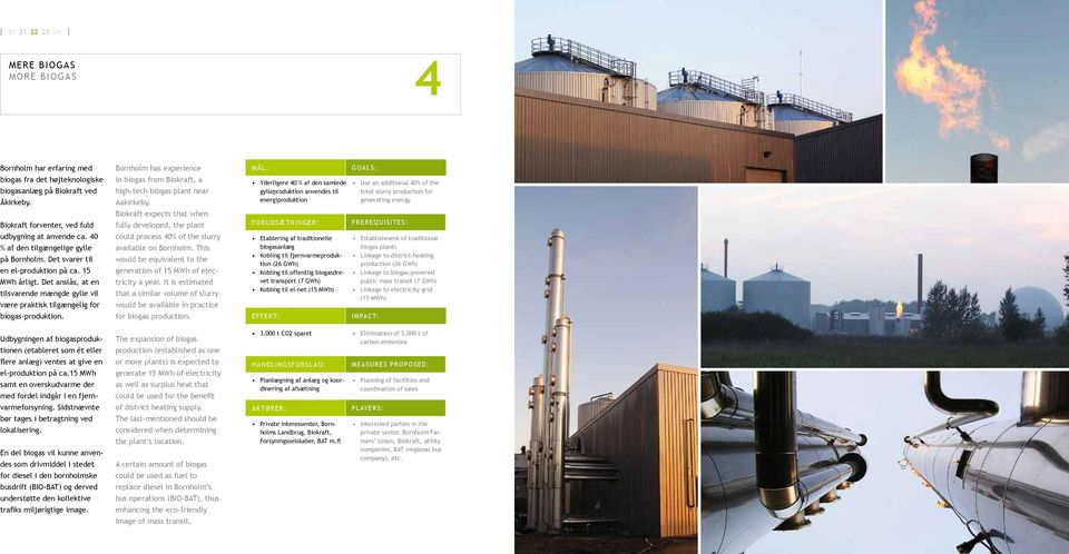Bornholm has experience in biogas from Biokraft, a high-tech biogas plant near Aakirkeby. Biokraft expects that when fully developed, the plant could process 40% of the slurry available on Bornholm.