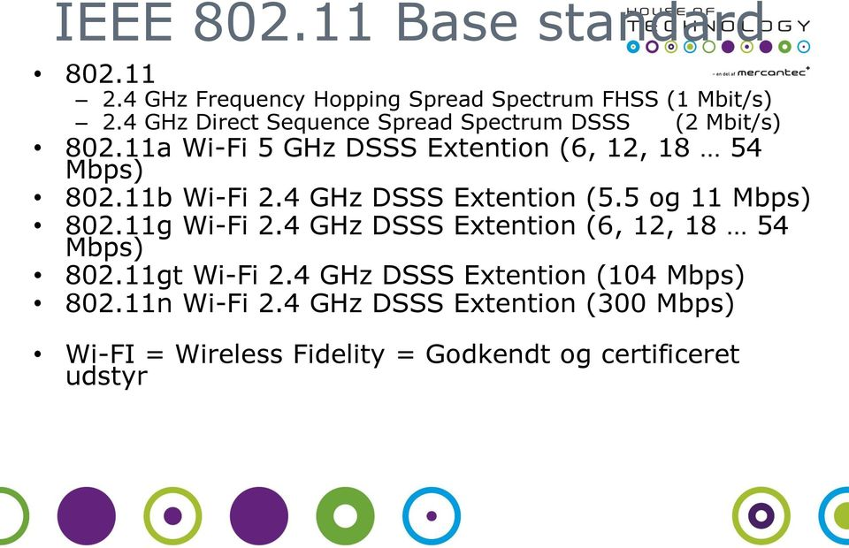 11b Wi-Fi 2.4 GHz DSSS Extention (5.5 og 11 Mbps) 802.11g Wi-Fi 2.4 GHz DSSS Extention (6, 12, 18 54 Mbps) 802.