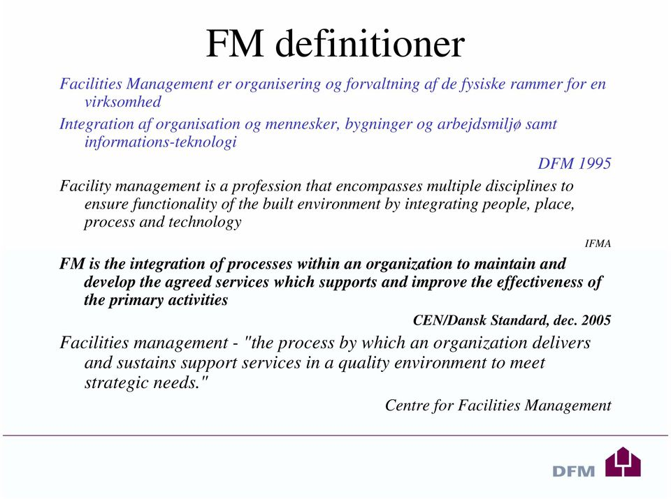 and technology FM is the integration of processes within an organization to maintain and develop the agreed services which supports and improve the effectiveness of the primary activities