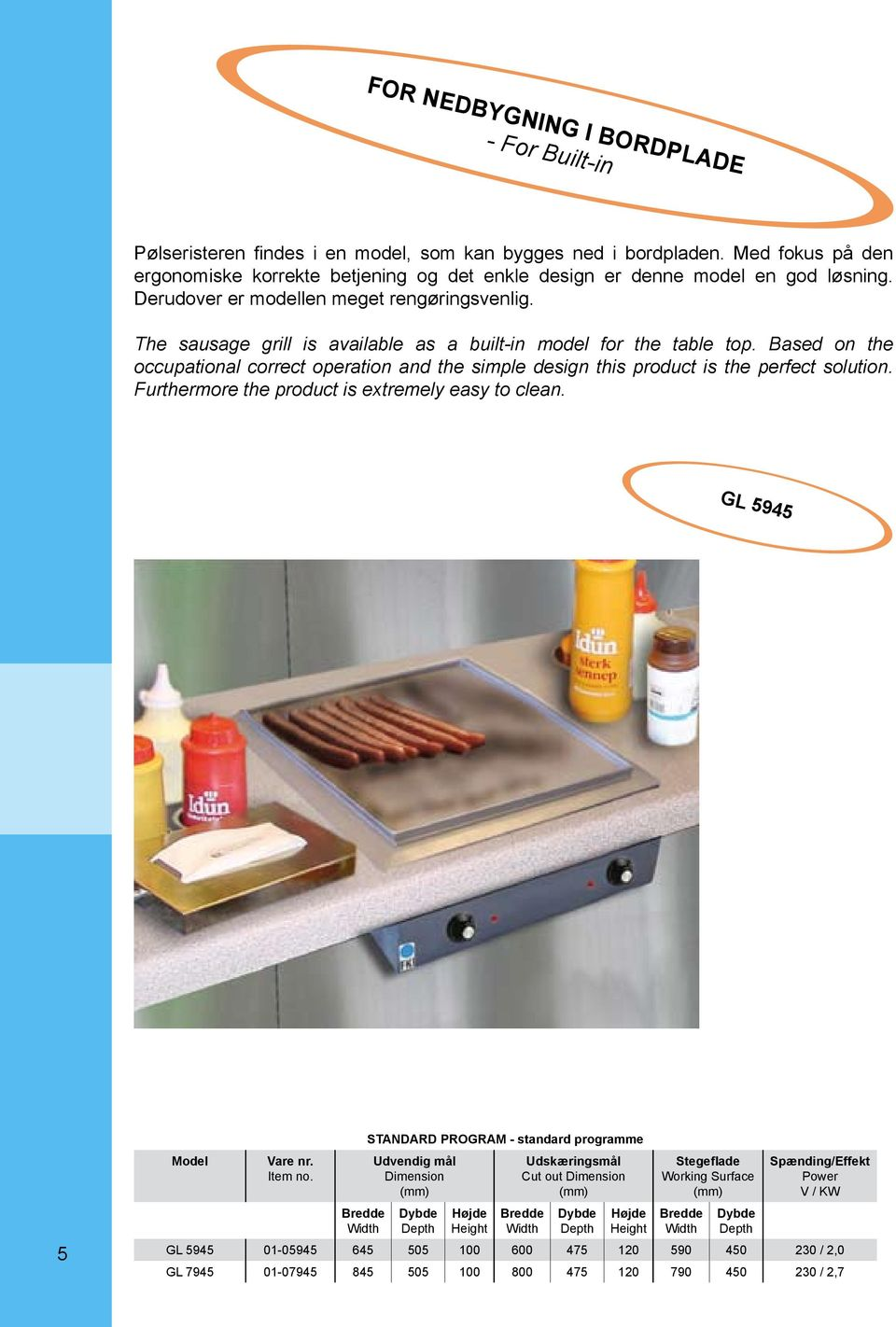The sausage grill is available as a built-in model for the table top.