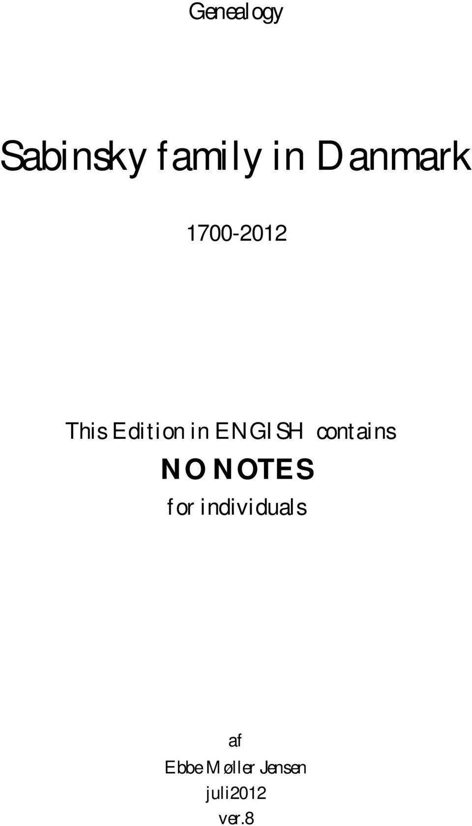 ENGISH contains NO NOTES for