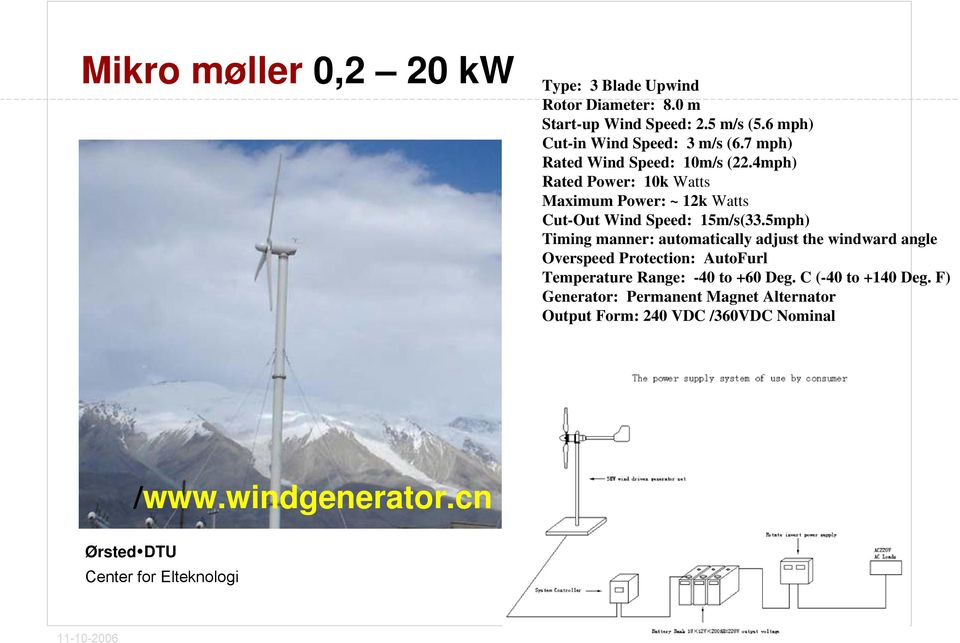 4mph) Rated Power: 10k Watts Maximum Power: ~ 12k Watts Cut-Out Wind Speed: 15m/s(33.
