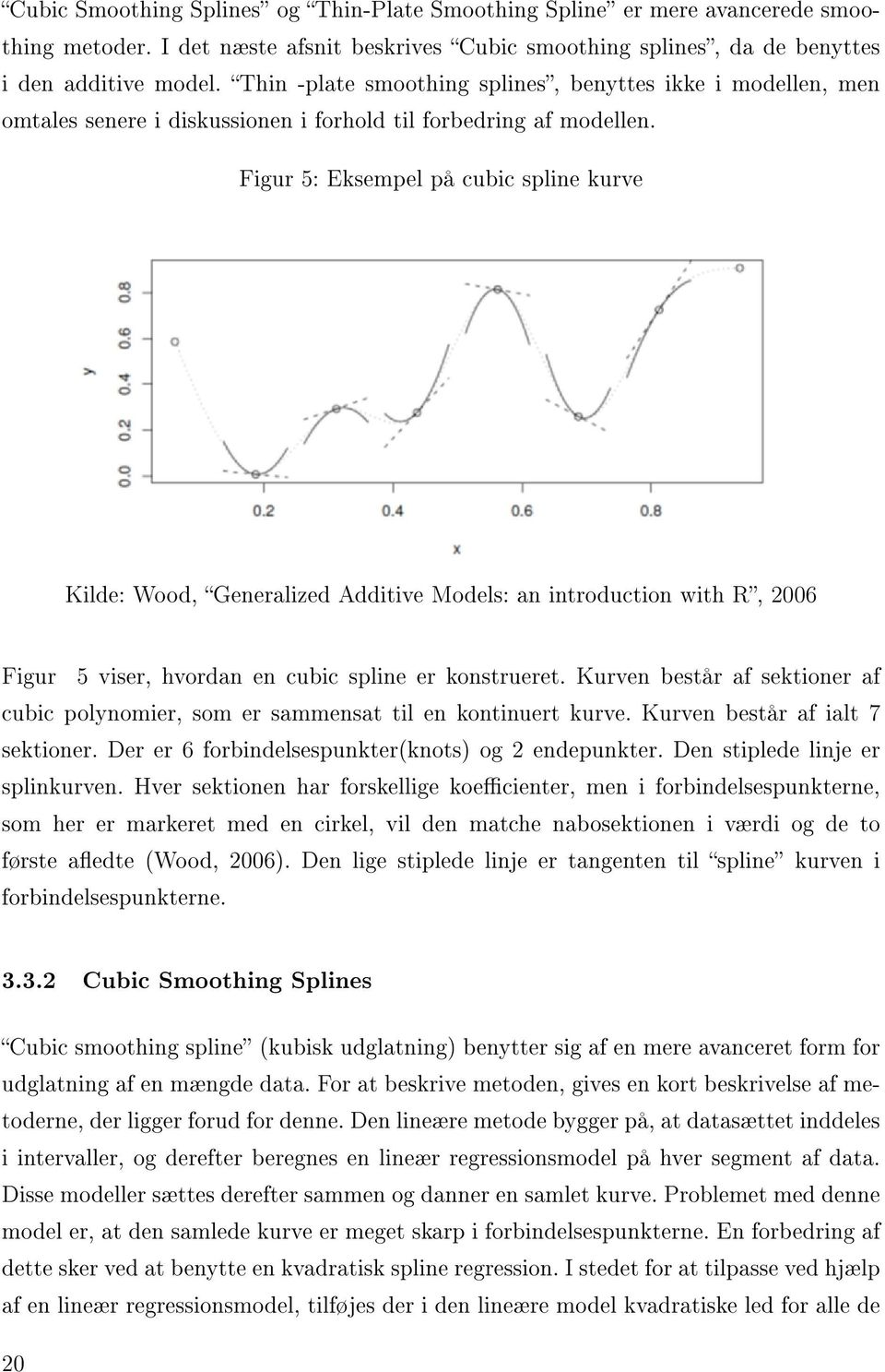 Figur 5: Eksempel på cubic spline kurve Kilde: Wood, Generalized Additive Models: an introduction with R, 2006 Figur 5 viser, hvordan en cubic spline er konstrueret.
