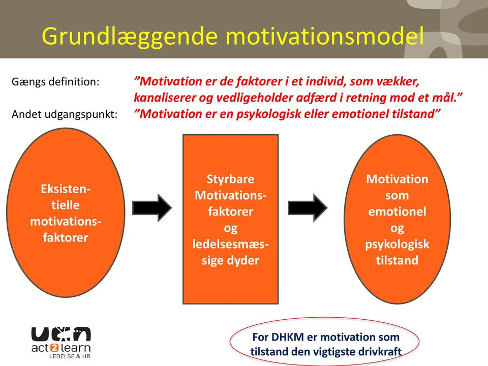 Motivation er en psykologisk eller emotionel tilstand Eksistentielle motivationsfaktorer Styrbare