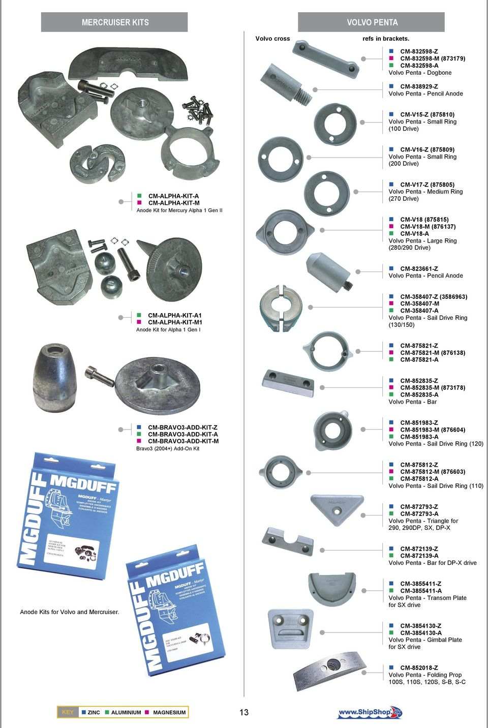 Ring (200 Drive) CM-ALPHA-KIT-A CM-ALPHA-KIT-M Anode Kit for Mercury Alpha 1 Gen II CM-V17-Z (875805) Volvo Penta - Medium Ring (270 Drive) CM-V18 (875815) CM-V18-M (876137) CM-V18-A Volvo Penta -