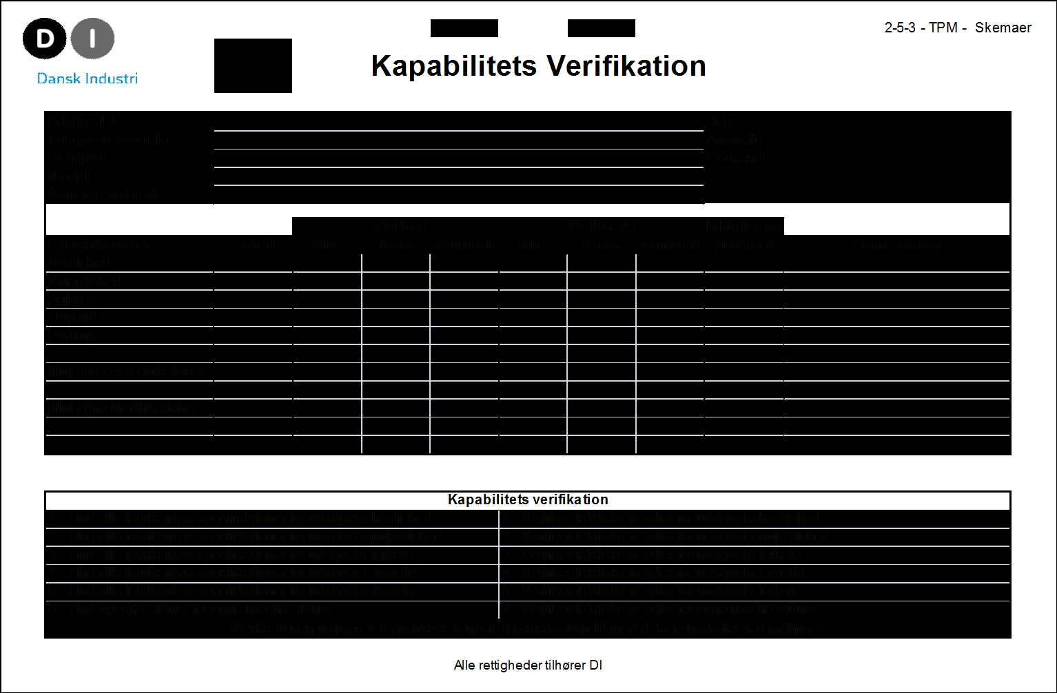 -metode - fase 2 (1 2) Verifikation for kapabilitet, skema Hastighed