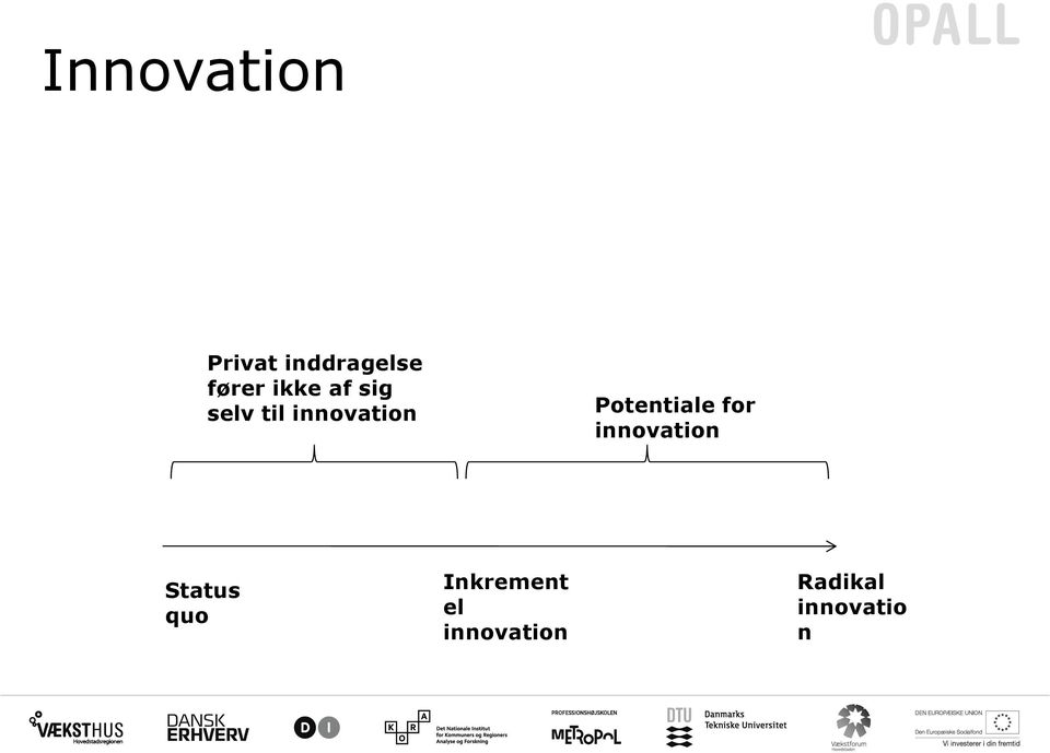 Potentiale for innovation Status quo