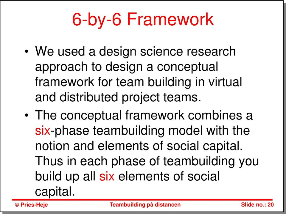 The conceptual framework combines a six-phase teambuilding model with the notion and