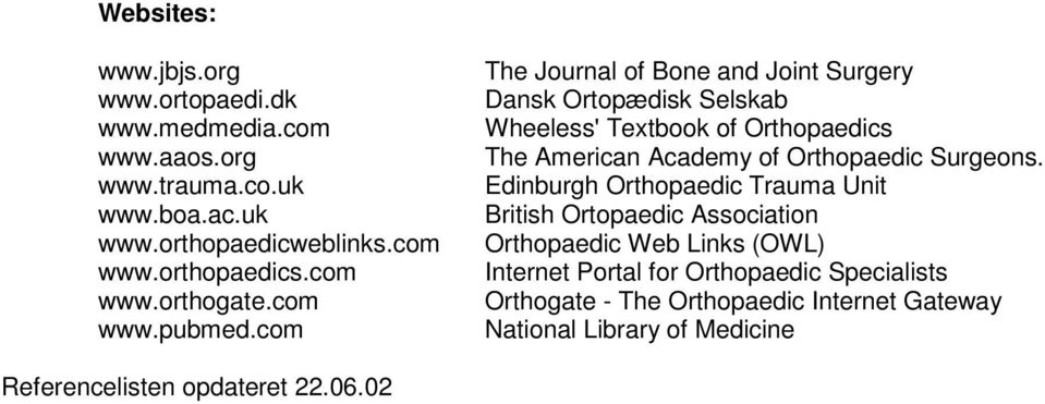 com The Journal of Bone and Joint Surgery Dansk Ortopædisk Selskab Wheeless' Textbook of Orthopaedics The American Academy of Orthopaedic