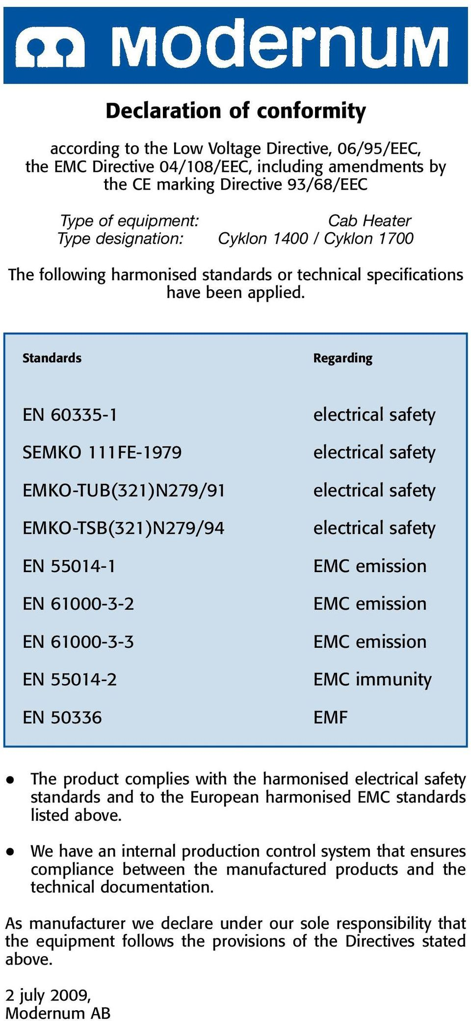 Standards Regarding EN 60335-1 SEMKO 111FE-1979 EMKO-TUB(321)N279/91 EMKO-TSB(321)N279/94 EN 55014-1 EN 61000-3-2 EN 61000-3-3 EN 55014-2 EN 50336 electrical safety electrical safety electrical