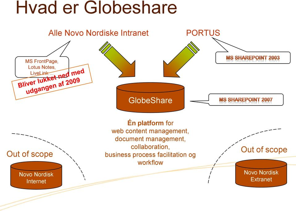 .. GlobeShare Out of scope Novo Nordisk Internet Én platform for web