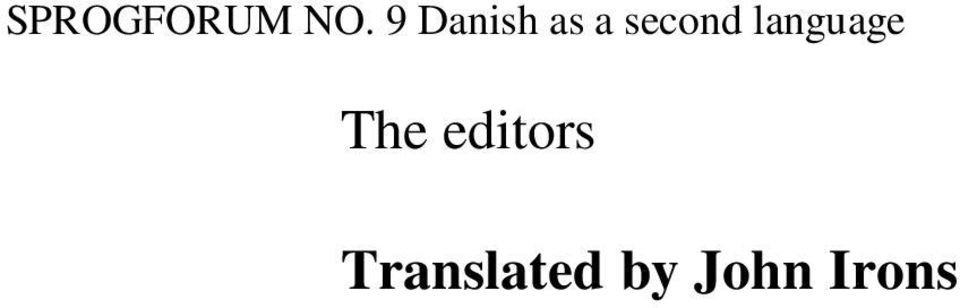 language The editors