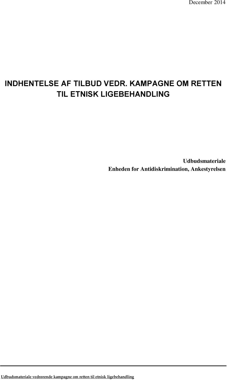Udbudsmateriale Enheden for Antidiskrimination,