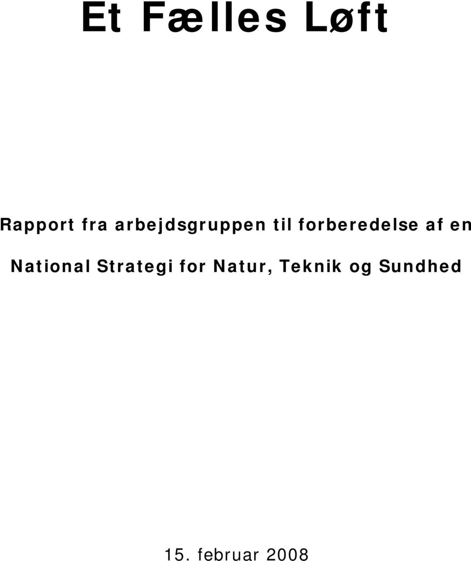 af en National Strategi for