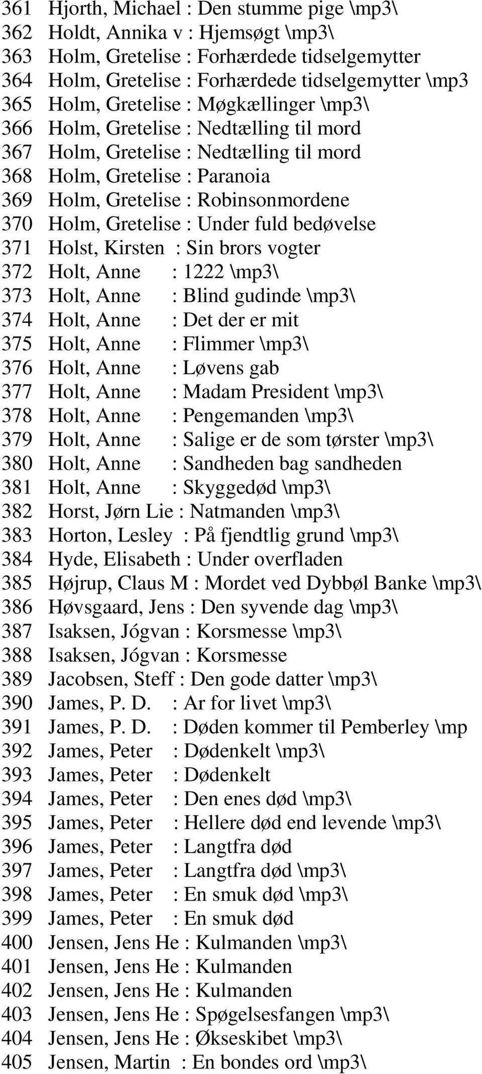 Gretelise : Under fuld bedøvelse 371 Holst, Kirsten : Sin brors vogter 372 Holt, Anne : 1222 \mp3\ 373 Holt, Anne : Blind gudinde \mp3\ 374 Holt, Anne : Det der er mit 375 Holt, Anne : Flimmer \mp3\