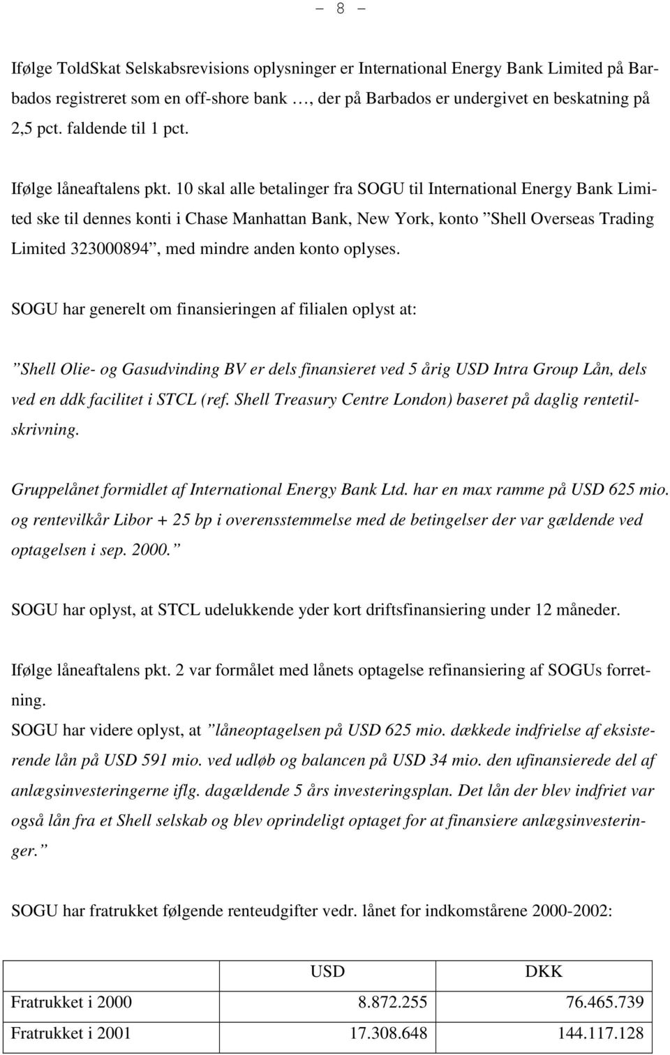 10 skal alle betalinger fra SOGU til International Energy Bank Limited ske til dennes konti i Chase Manhattan Bank, New York, konto Shell Overseas Trading Limited 323000894, med mindre anden konto