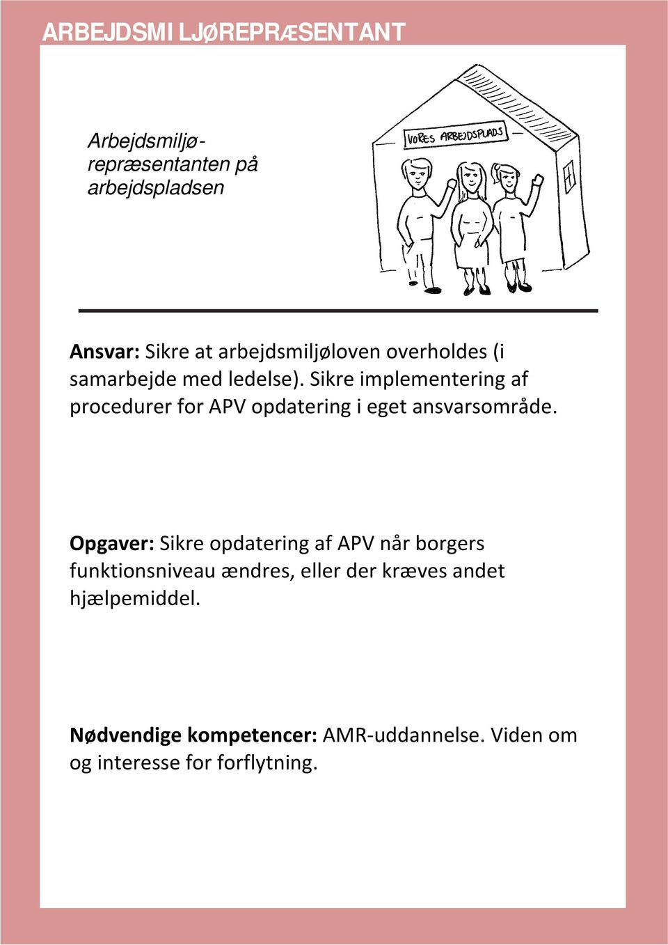 Sikre implementering af procedurer for APV opdatering i eget ansvarsområde.