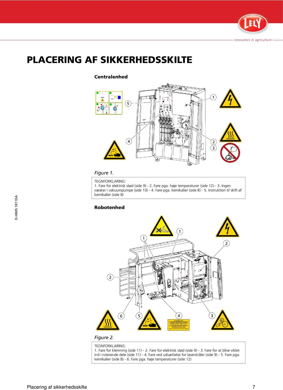 Instruktion til skift af kemikalier (side 8) Robotenhed Figure 2. TEGNFORKLARING: 1. Fare for klemning (side 11) - 2. Fare for elektrisk stød (side 9) - 3.