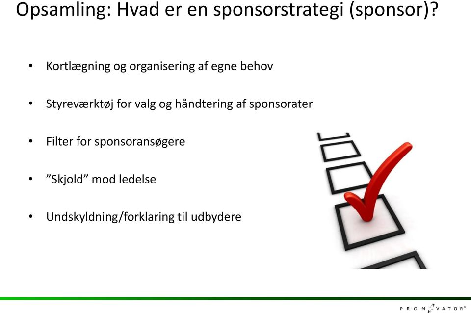 for valg og håndtering af sponsorater Filter for